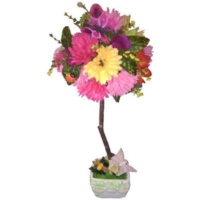 Композиция из искусственных цветов, фруктов и бабочек «Весеннее древо»