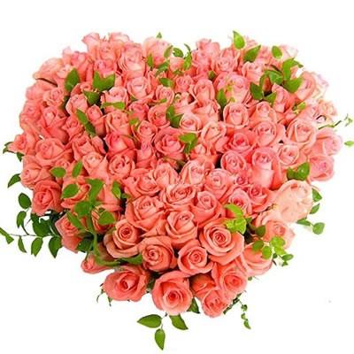 Цветочная композиция из 101 розовой розы «Трогательная любовь»