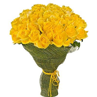 Букет из 51 жёлтой розы «Янтарный поцелуй»