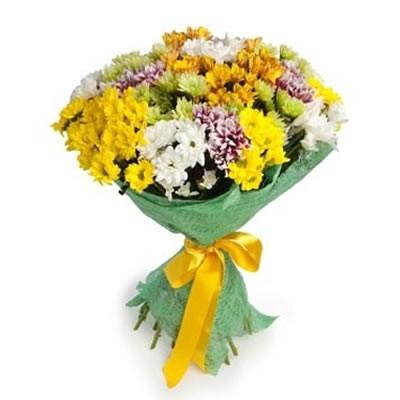 Букет из 15 хризантем «Цветочный бисер»