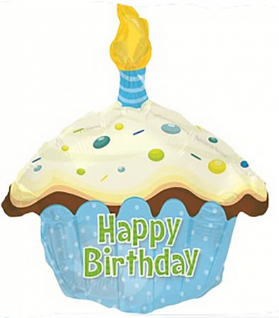 Шар Кекс  голубой 51 см «Happy Birthday»